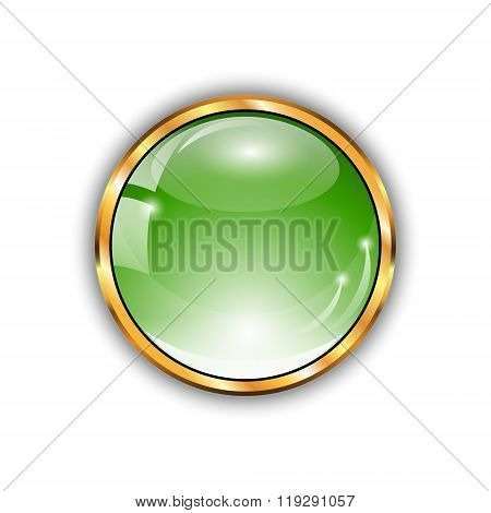 Green shiny button with glass effect