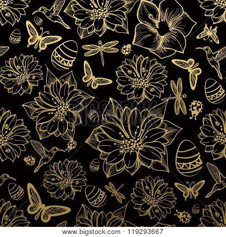 Seamless pattern flowers butterflies