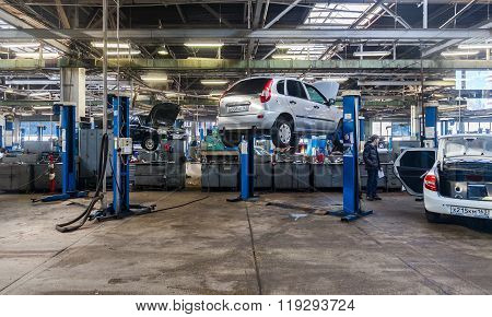 Inside In The Auto Repair Service Station Of The Official Dealer Lada