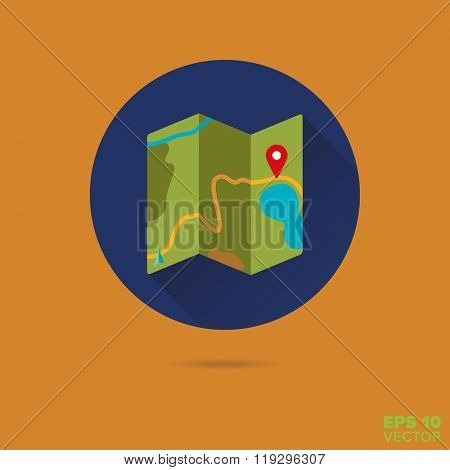 map navigation flat design vector icon