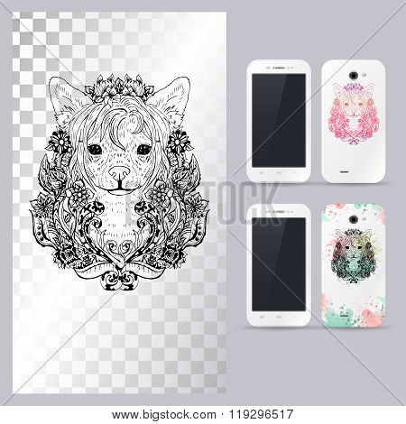 Black and white animal dog head. Vector illustration for phone case.