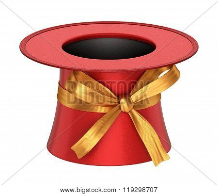 3D Rendered Red Decoration Top Hat With Golden Ribbon