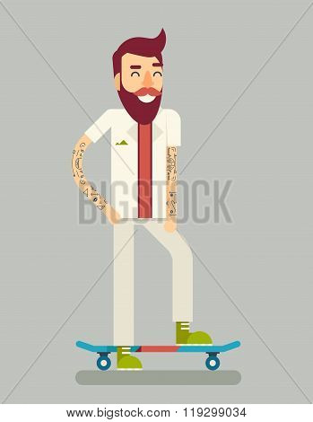 Smiling Adult Man Geek Scooter Happy Hipster Character Ride Skateboard Icon Symbol Stylish Backgroun