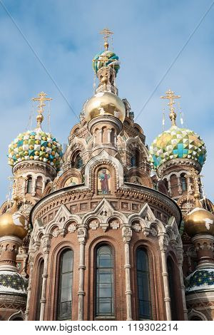 Cathedral Of Our Savior On The Blood In The Rays Of The Rising Sun. Winter, St. Petersburg