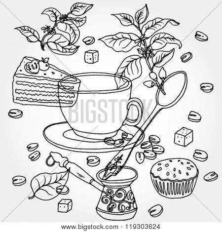 Background With Coffee Stuff