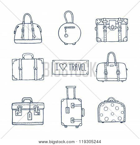Set Of Old Vintage Bags And Suitcases For Travel