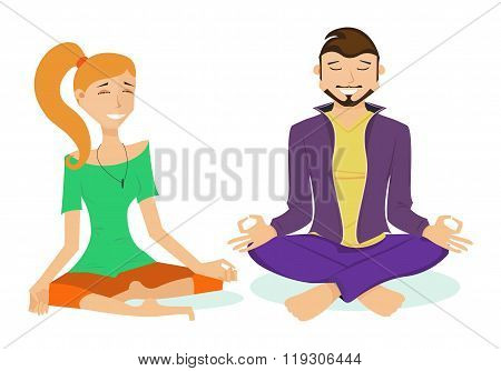 Sporty girl and man with a smile on their faces, yogi sitting in the lotus position