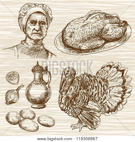 Turkey meat. Hand drawn set.