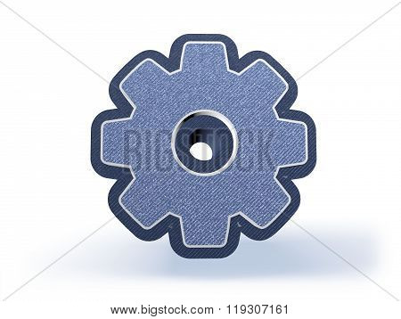 Cog Shopping Icon In Blueish Denim Look