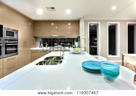 Close Up Of A White Ceramic Countertop In A Modern Kitchen Interior