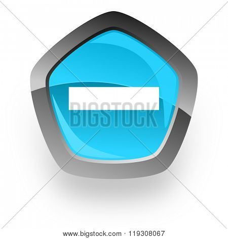 minus blue metallic chrome web pentagon glossy icon