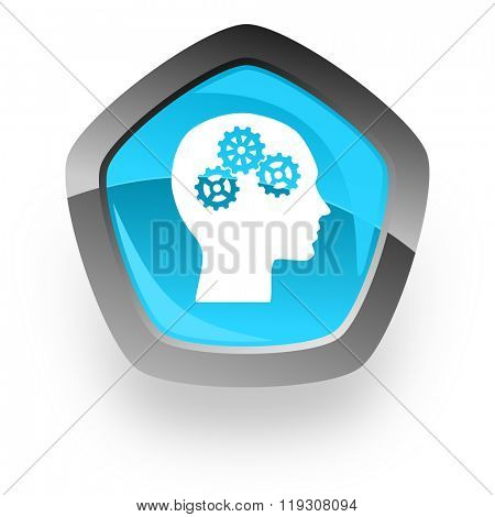 head blue metallic chrome web pentagon glossy icon
