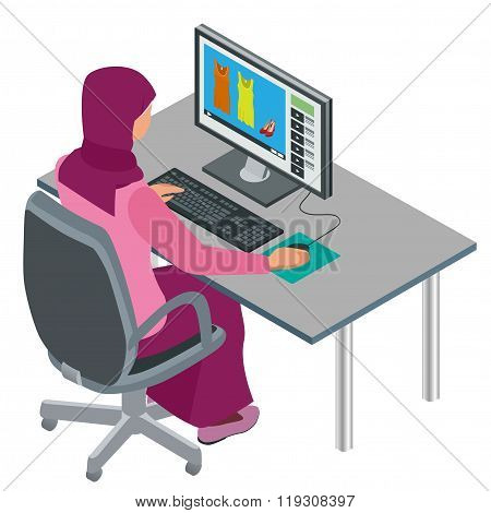 Arab woman, Muslim woman, asian woman working in office with computer. Attractive female Arabic corp
