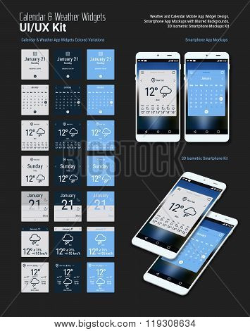 Calendar and Weather Mobile App Widgets UI Designs with Smartphone Mockups