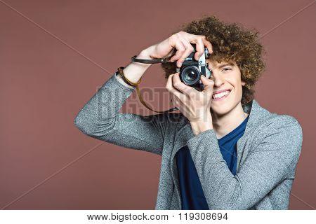 Studio shot of stylish young man
