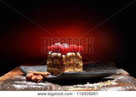 Raspberry Cake on plate