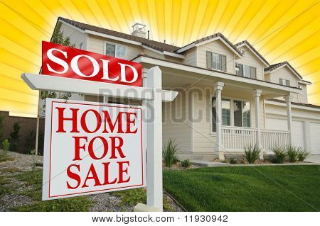 Sold Home For Sale sign, Yellow Star-burst Background. See my theme variations.