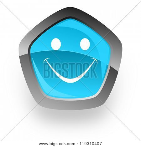 smile blue metallic chrome web pentagon glossy icon