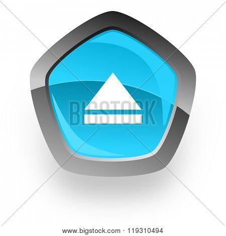 eject blue metallic chrome web pentagon glossy icon