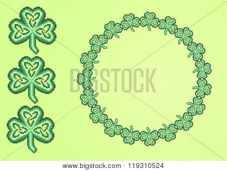 green embroidered good like handmade cross-stitch ethnic Ukraine pattern. spring color for St. Patricks day