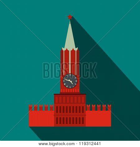 Spasskaya tower of Moscow Kremlin icon, flat style