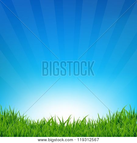 Blue Sky And Grass Sunburst Background