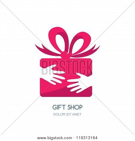 Vector Logo Design For Holidays And Gift Shop.