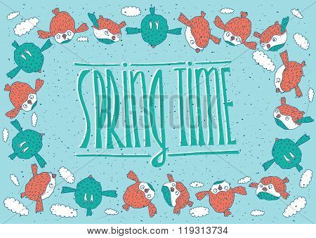 Flock Of Birds With Spring Time