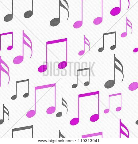 Pink, White And Gray Music Notes Tile Pattern Repeat Background