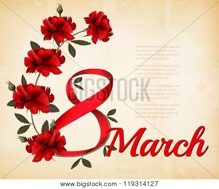 8th March illustration with red roses. International Women's Day. Vector.