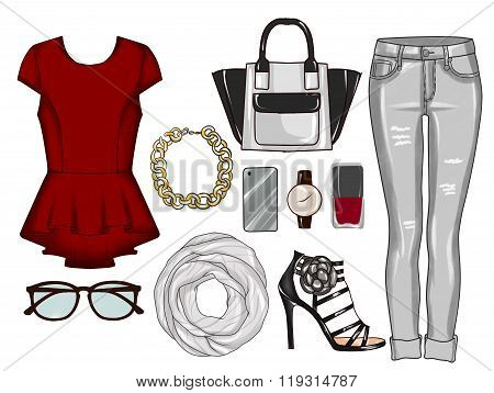 Fashion set of woman's clothes, accessories, and shoes - Grey denim jeans, top, sandals, scarf, make