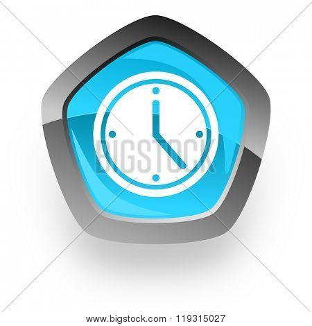 time blue metallic chrome web pentagon glossy icon