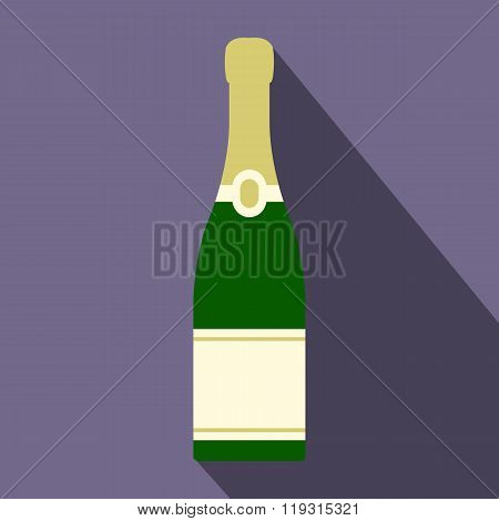 Champagne bottle icon, flat style