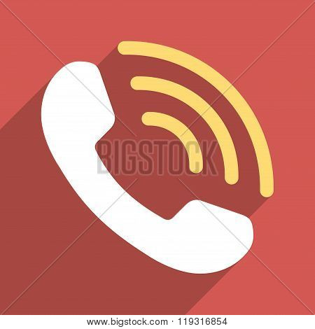 Phone Call Flat Longshadow Square Icon