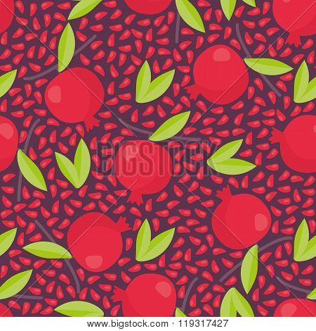 Hand drawn seamless texture with floral elements and garnets. Vector background