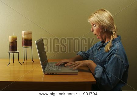 I've used this Woman Using Laptop Series combined with various elements coming through the screen. By request, I've have taken out the elements coming out of the screen to offer you an empty palette.