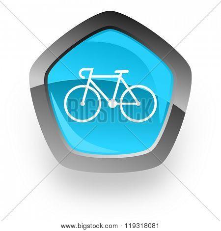 bicycle blue metallic chrome web pentagon glossy icon