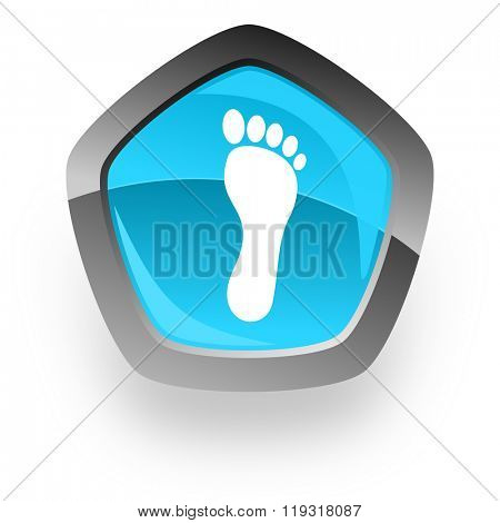 foot blue metallic chrome web pentagon glossy icon