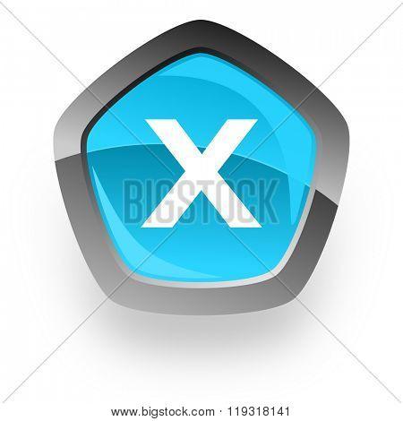 cancel blue metallic chrome web pentagon glossy icon