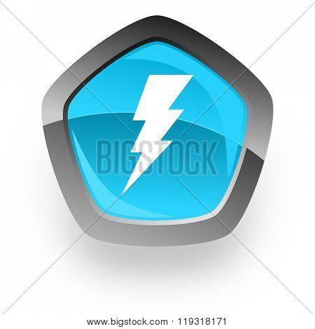 bolt blue metallic chrome web pentagon glossy icon