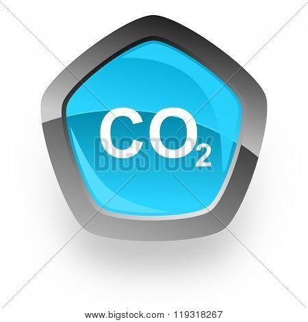 carbon dioxide blue metallic chrome web pentagon glossy icon