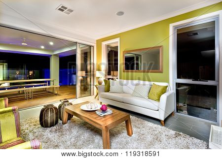 Luxurious Living Room Interior With Sofas And Fancy Decorations