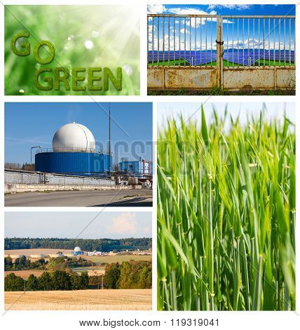 Go Green concept. Field of wheat and biogas plant.
