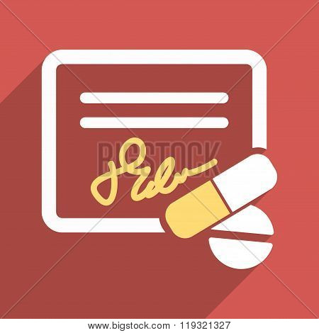 Receipt And Pills Flat Longshadow Square Icon