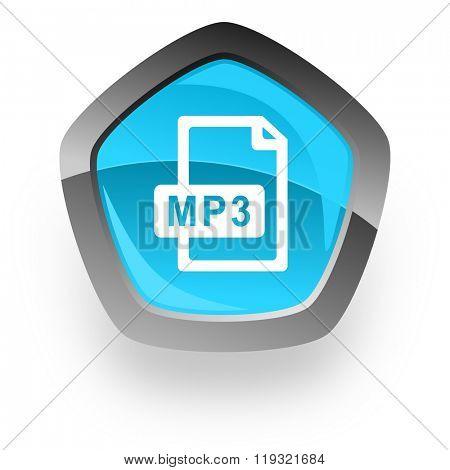 mp3 file blue metallic chrome web pentagon glossy icon