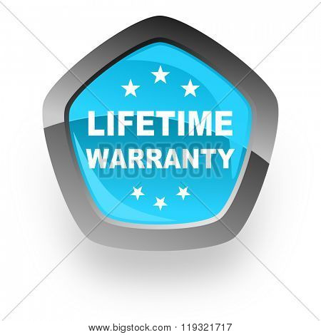 lifetime warranty blue metallic chrome web pentagon glossy icon