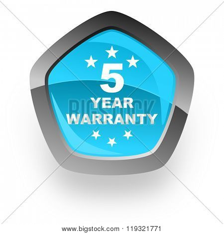 warranty guarantee 5 year blue metallic chrome web pentagon glossy icon