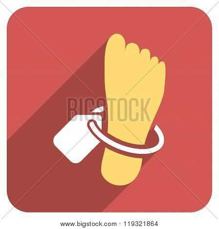 Mortuary Foot Tag Flat Rounded Square Icon with Long Shadow