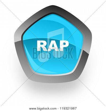 rap music blue metallic chrome web pentagon glossy icon