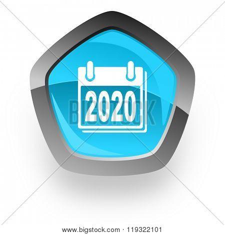 new year 2020 blue metallic chrome web pentagon glossy icon